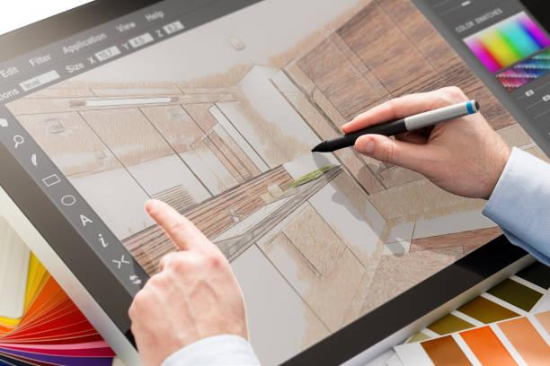 ontwerper ontwerpt het interieur van het huis. - interior design stockfoto's en -beelden