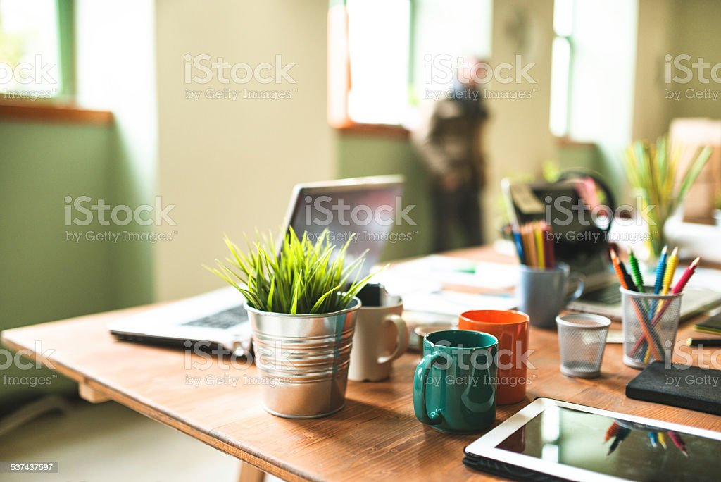 Designer desk stock photo
