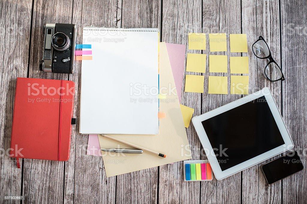 Designer desk with few elements stock photo