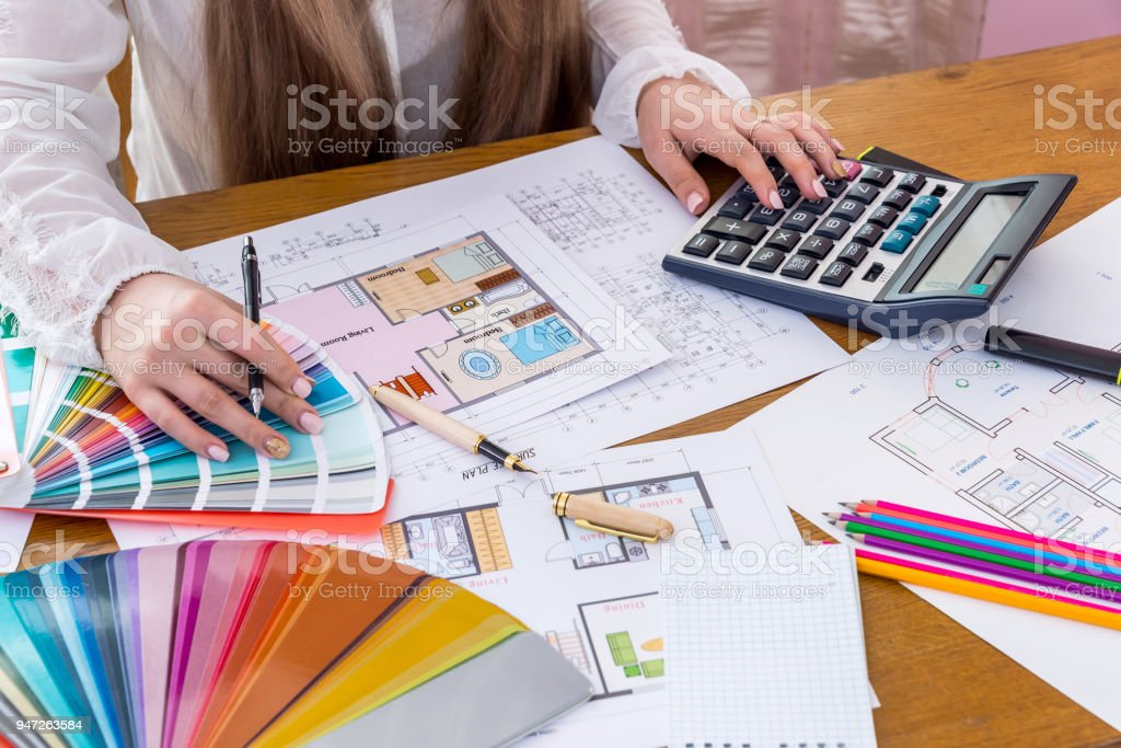 Designer develop and work on new project, close up stock photo