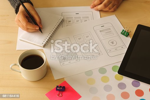995213208 istock photo Designer drawing mobile App wireframes 681164416