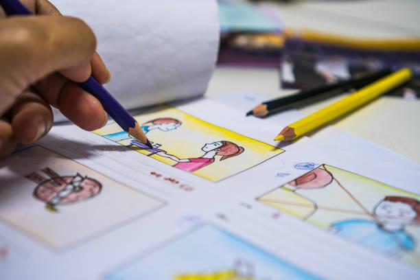 designer zeichnung geschichte film video platinenlayout für vorproduktion, entwicklung abbildung zeichentrick für prozess-media-filme in form angezeigt skript filmproduktion. medien-produkt-konzept. - storytelling fotos stock-fotos und bilder