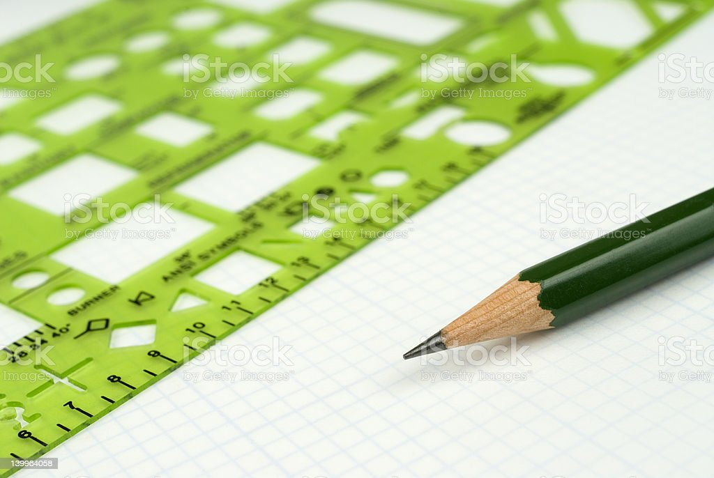 Designer drawing  tools on drafting paper. royalty-free stock photo