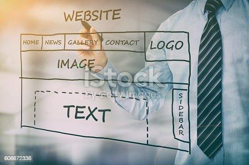 istock Designer drawing website development. 606672336