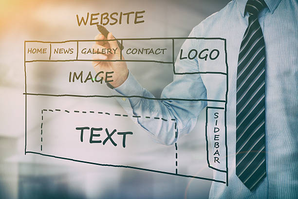 Designer drawing website development. stock photo
