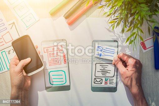 istock Designer drawing website ux app development. 840777264