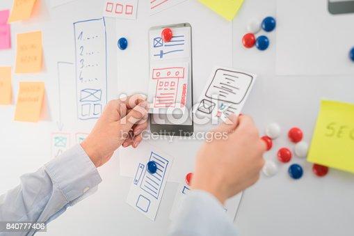 istock Designer drawing website ux app development. 840777406