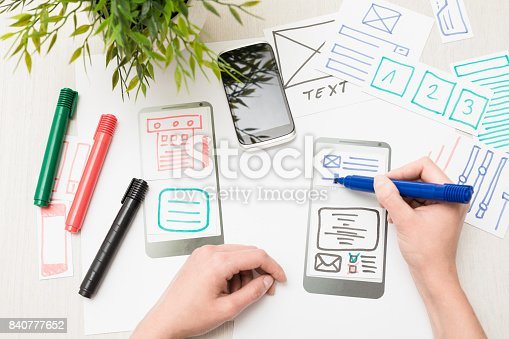 istock Designer drawing website ux app development. 840777652