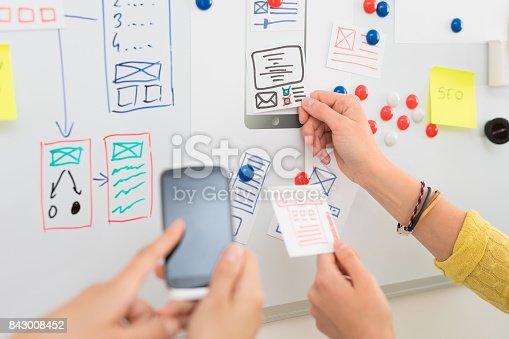 istock Designer drawing website ux app development. 843008452