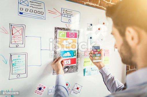 istock Designer drawing website ux app development. 970503926