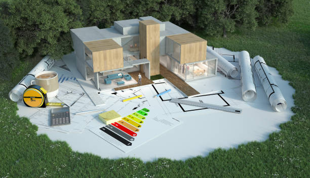Designer house project on construction site stock photo