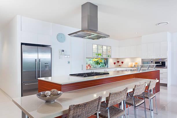 A designer kitchen in Australian mansion stock photo