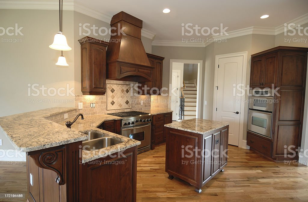 Beautiful designer kitchen with rich hardwoods.