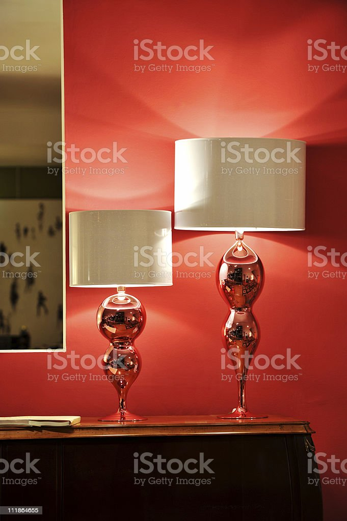 Designer Lamps in Showcase Home royalty-free stock photo