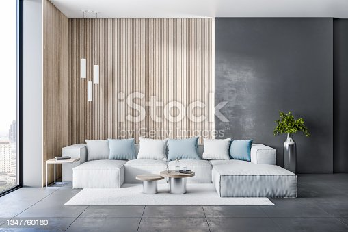 istock Designer living room interior with window and city view, beautiful couch, pillows, rug and other items. Design concept. 3D Rendering. 1347760180