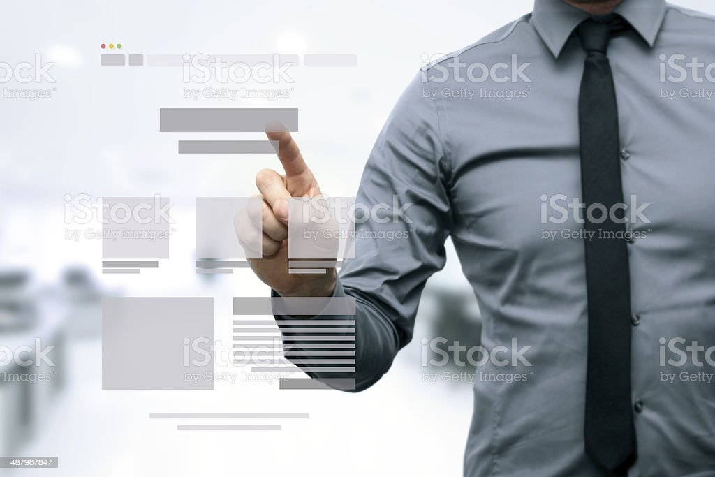 designer presenting website development wireframe stock photo