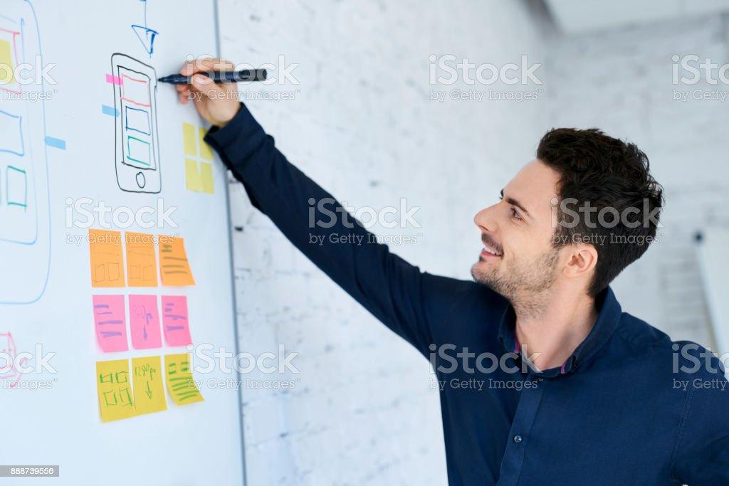 Designer prototyping mobile application layout on whiteboard stock photo