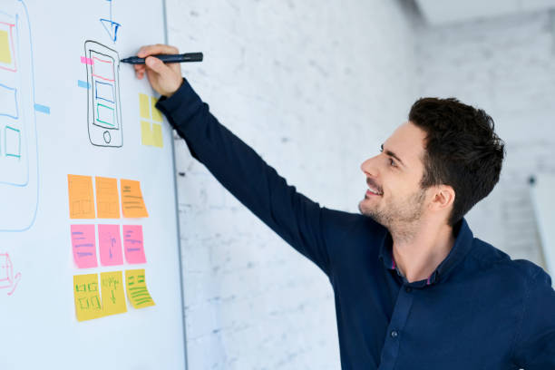 Designer prototyping mobile application layout on whiteboard stock photo