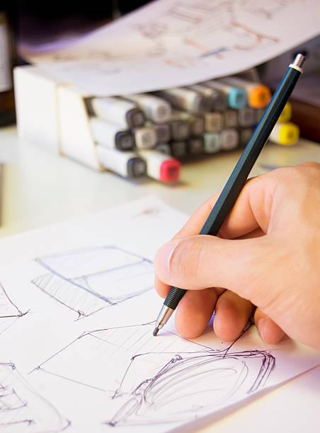 designer, gekritzel - produktdesigner stock-fotos und bilder