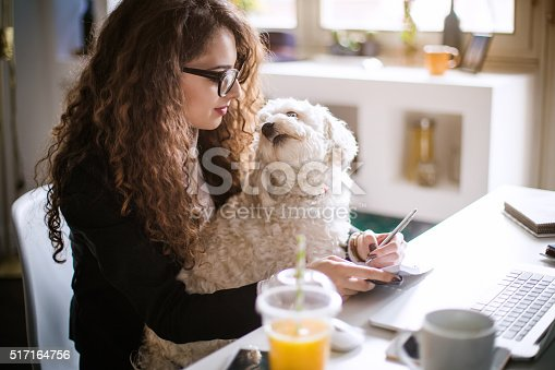 istock Designer working at home office and holding her puppy 517164756