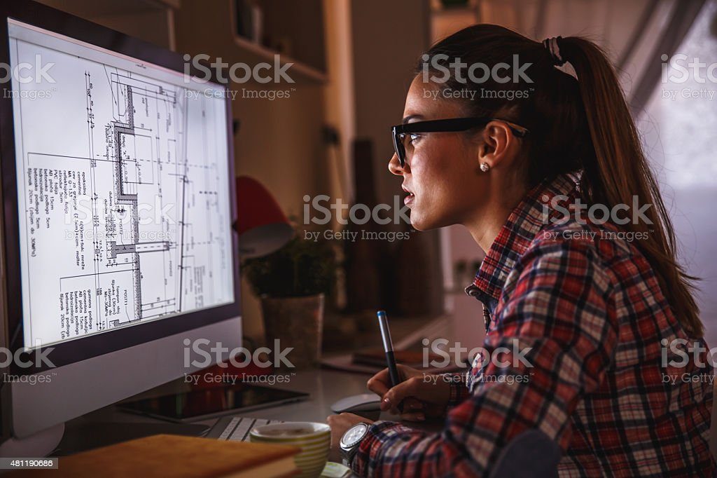 Designer working at home stock photo