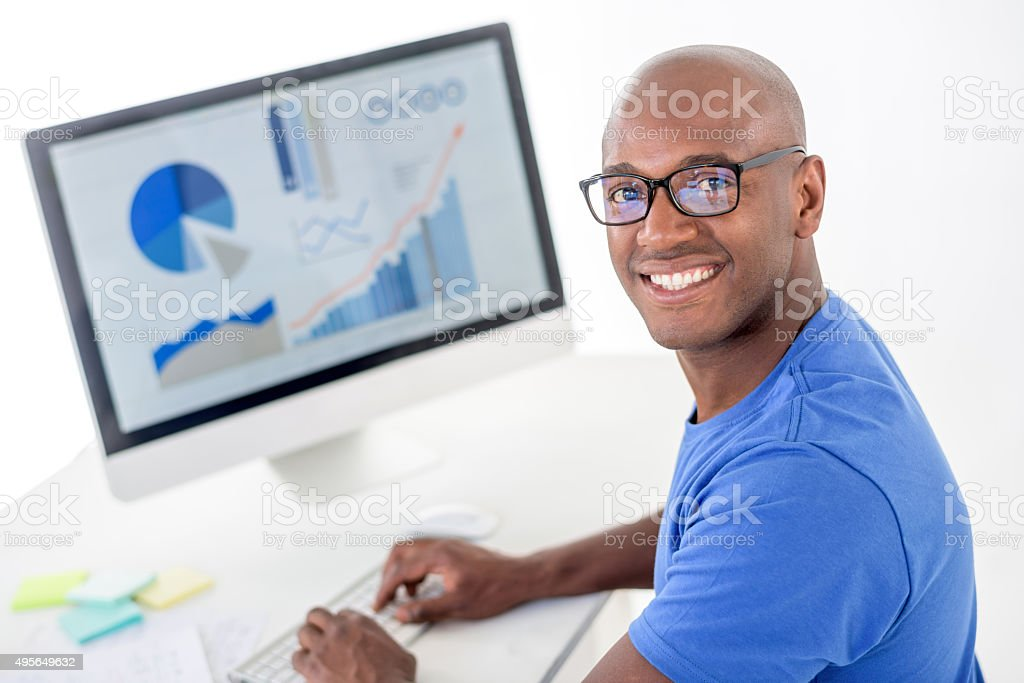 Designer working at the office stock photo