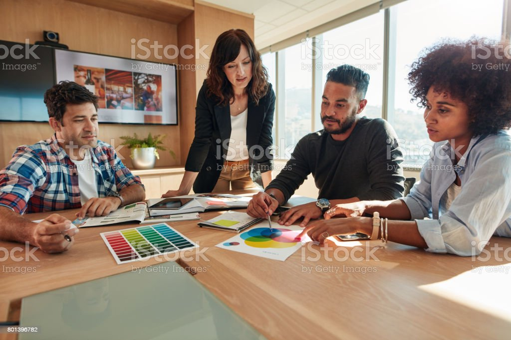 Designer working with color samples for selection stock photo
