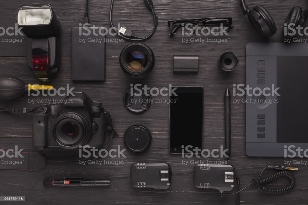 Designer workplace with graphic tablet and laptop stock photo