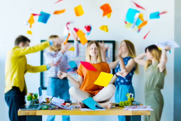 designers and architects working at office - chaos stock pictures, royalty-free photos & images