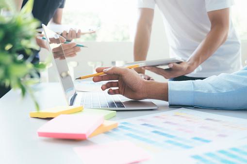 istock Designers brainstorming meeting team. 896698272