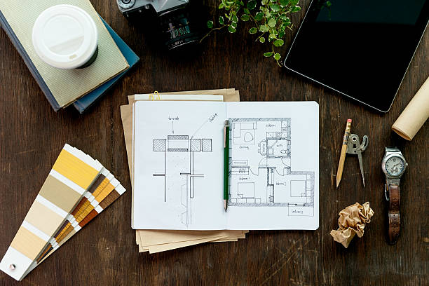 Designer's Desk Creative designers desk interior designer stock pictures, royalty-free photos & images