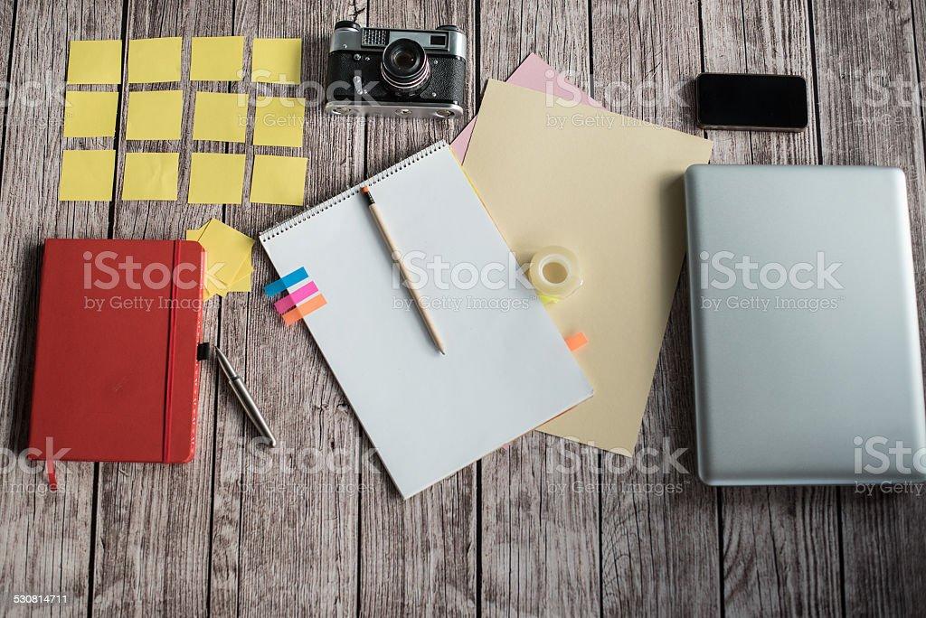 Designers desk with few elements stock photo
