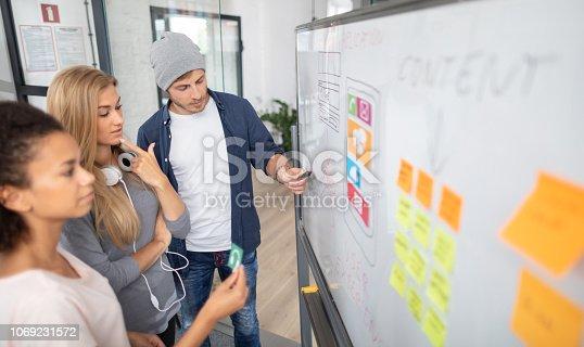 istock Designers drawing website ux app development. 1069231572