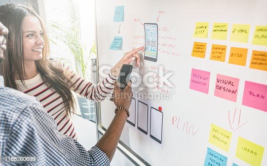 Designers drawing website ux app development. User experience concept.