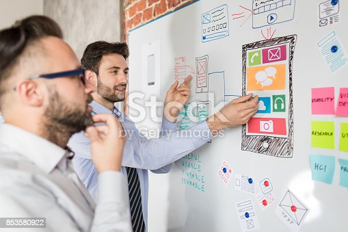 istock Designers drawing website ux app development. 853580922