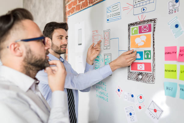 Designers drawing website ux app development. stock photo