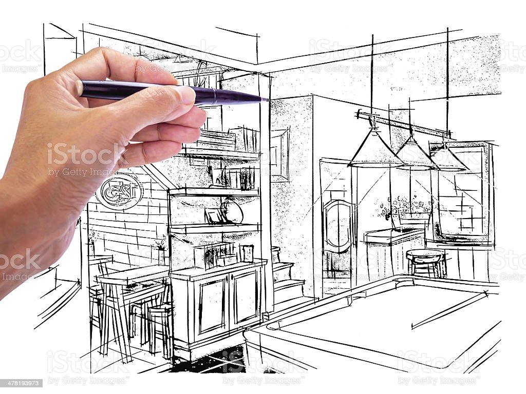 Concepteur dessin la main lint rieur de la vue dun pub - Disenadores de exteriores ...