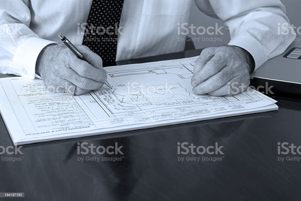 Designer's hands on desk royalty-free stock photo