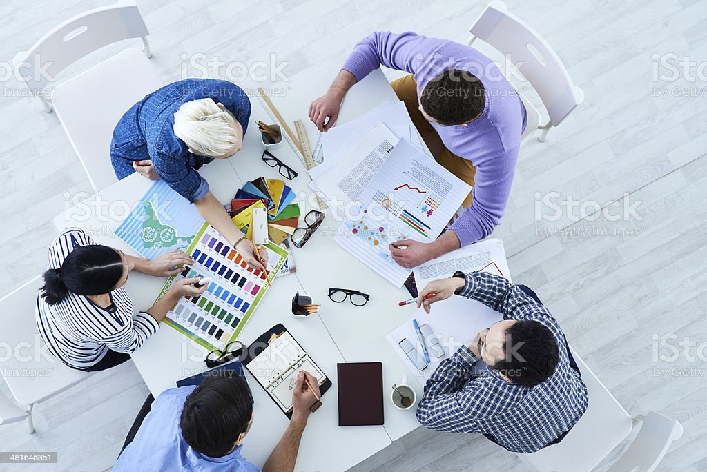 Designers team discussion royalty-free stock photo