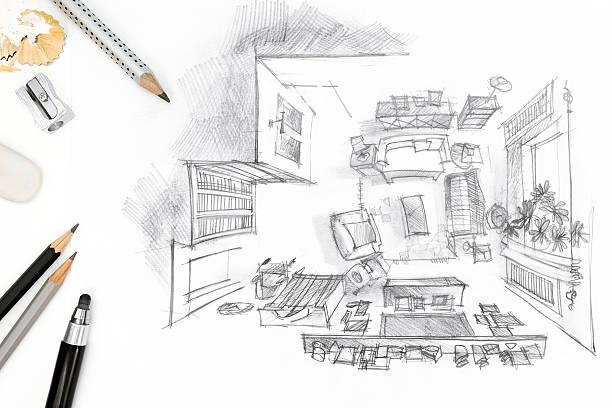 グラフィックデザイナーの職場でのスケッチのリビングルーム ストックフォト