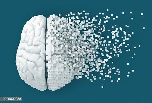 Desintegration Of Digital Brain On Blue Background. 3D Illustration.
