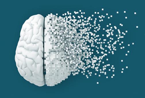 istock Desintegration Of Digital Brain On Blue Background 1026002288