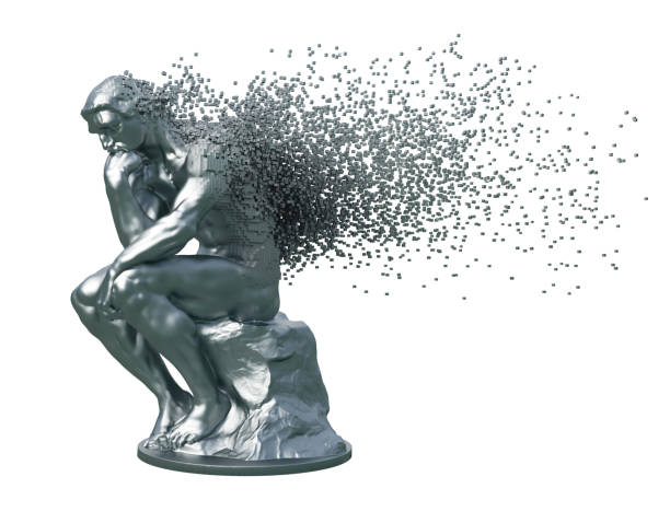 desintegration of metal sculpture thinker on white background - disintegrate stock pictures, royalty-free photos & images