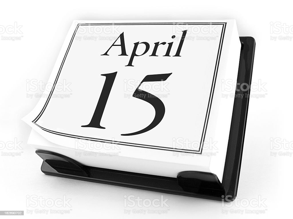 Desk Calendar - April 15th (with clipping path) stock photo