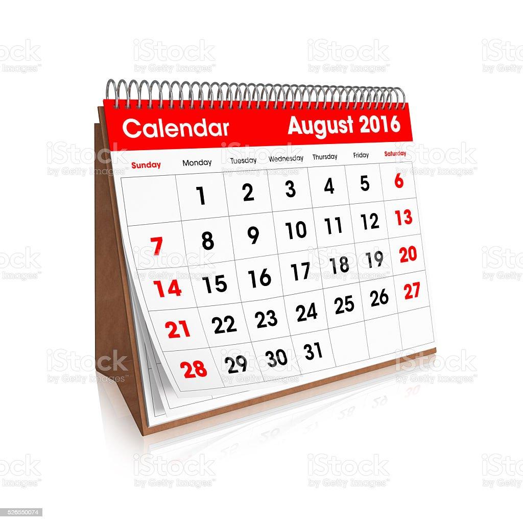 Schreibtisch Kalender – August 2016 – Foto