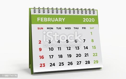 Desk calendar with a ring binder, FEBRUARY 2020, 3d render