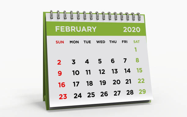 calendrier bureau février 2020 - calendrier digital journée photos et images de collection