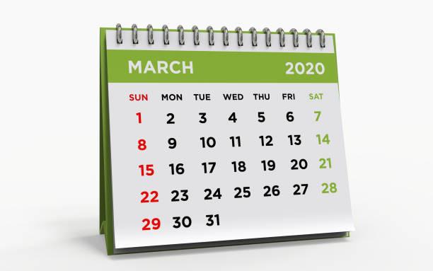 calendrier bureau march 2020 - calendrier digital journée photos et images de collection