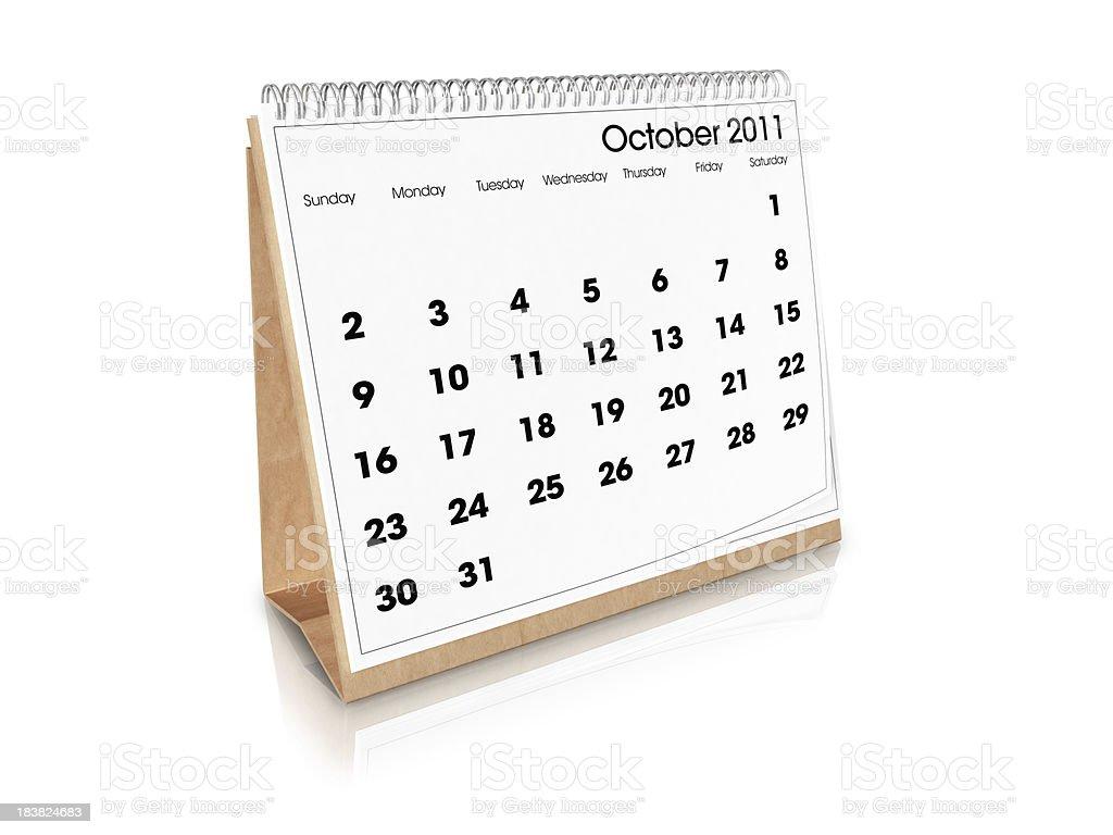 Desk Calendar October 2011 royalty-free stock photo