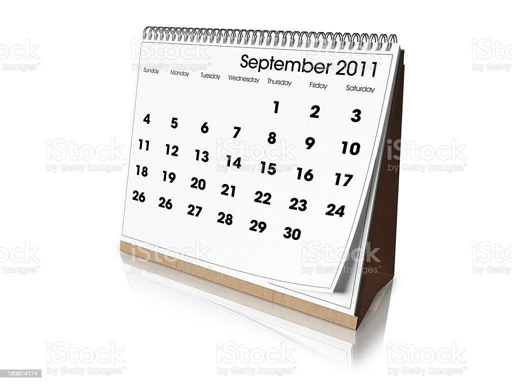 Desk Calendar September 2011 royalty-free stock photo